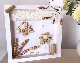 Bird decor wood frame