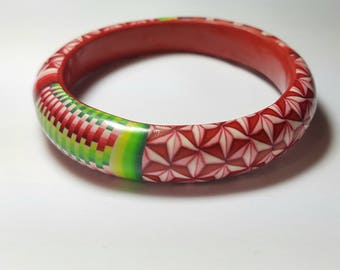 Bracelet Bangle all polymer clay, geometric pattern patchwork