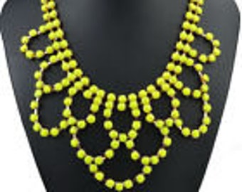 River of yellow rhinestone necklace