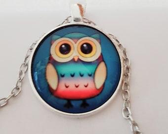 Owls, owl Medallion glass cabochon pendant necklace