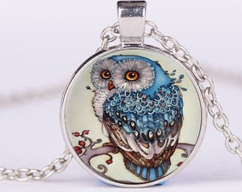 OWL glass cabochon necklace
