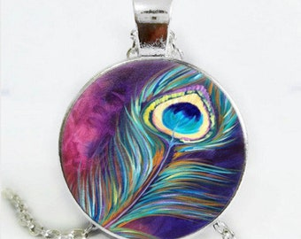 "Necklace""peacock feathers"" cabochon glass chain pendant"
