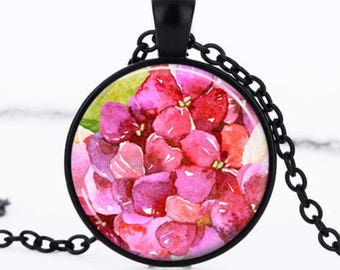 Glass cabochon necklace * flower * jewelry