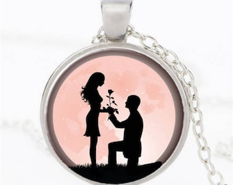 """Les amoureux"" glass cabochon necklace"