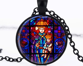 """Religious stained"" glass cabochon necklace"