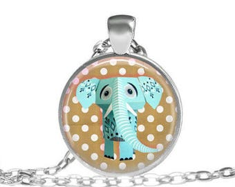 """elephant"" glass cabochon necklace"