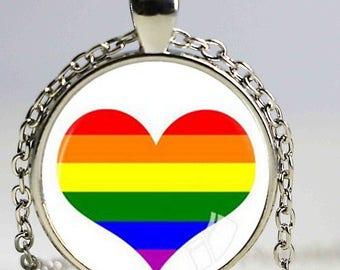 Necklace heart motif gay pride pendant cabochon glass gunmetal chain