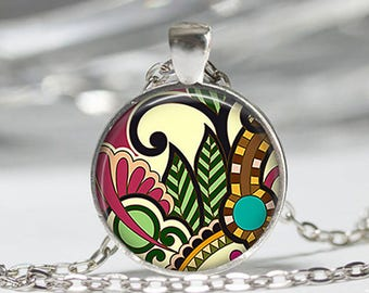 Modern Art Glass cabochon necklace