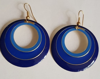lovely blue enamel round earrings