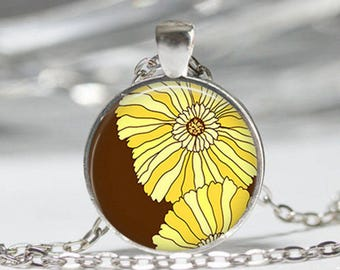 Flower abstract art pendant cabochon glass silver chain necklace