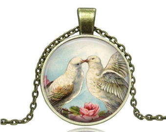 """Doves"" glass cabochon necklace"