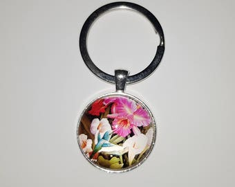 Key ring glass cabochon