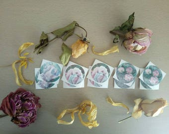 A set of 10 floral stickers