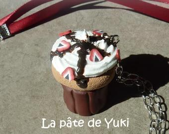 Cupcake necklace black chocolate Strawberry whipped cream handmade polymer clay