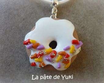Pendant round white red yellow pink handmade polymer clay donut