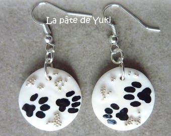 Earrings black white handmade polymer clay round