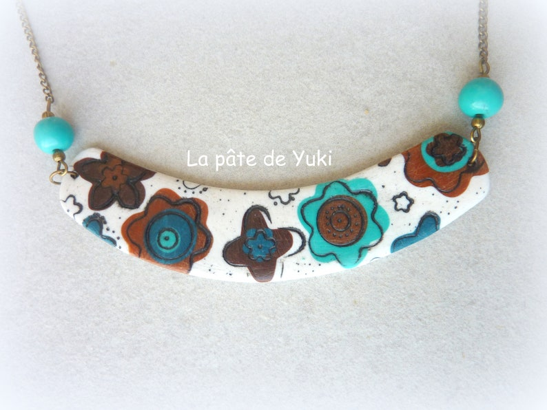 floral for women Bib necklace white brown black turquoise polymer clay handmade