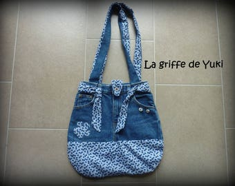 Bag recycled blue denim with blue floral lining