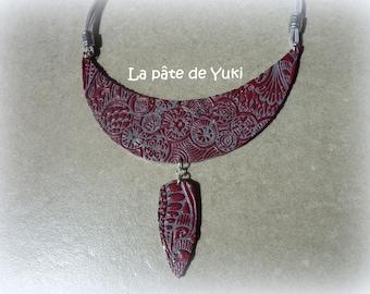 Half moon Burgundy gray handmade polymer clay bib necklace