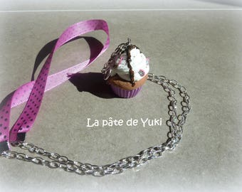 Handmade pink cupcake polymer clay necklace