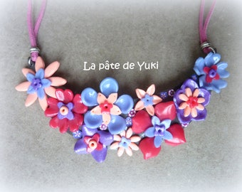 Half Moon Pink Purple floral hand-made polymer clay bib necklace