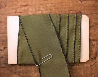 1.5 Inch Sage Green Woven Taffeta Wired Ribbon (1yrd.) T38