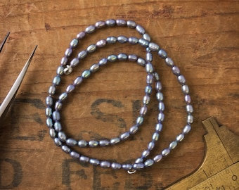 4mm Small Gray Silver Metallic Freshwater Rice Pearl Beads S15