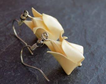 Yellow tulips origami earrings