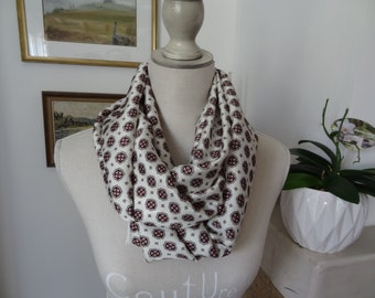 Snood /en polyester satin / with lozenges of blue and Burgundy/white / touch silk look silk/wrinkle/accessory for fashion.
