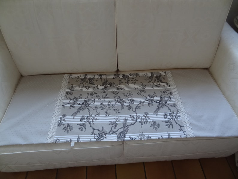 Canvas of Jouy taupe and ecru table runner  canvas mayennelace 4 cmjust cottondouble cotton ecrudeco Interior  linen