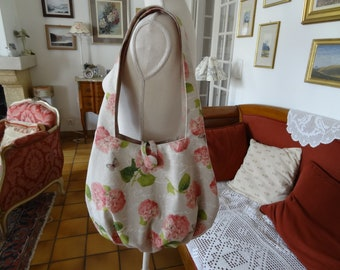 Messenger/shoulder bag / canvas linen look / with pink hydrangeas, butterflies, and white/shabby chic/ball shape style writing.