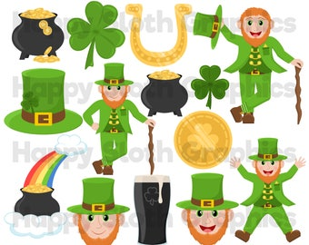 St Patrick's Day clipart set, personal and commercial use vector St Paddys, Irish digital clip art set.