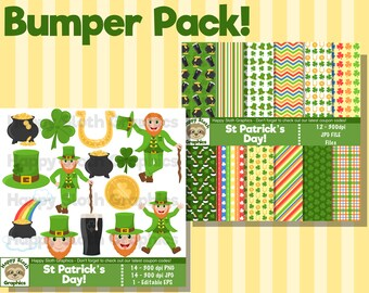 St Patricks Day digital paper AND clip art set, personal and commercial use Irish, Paddys Day digital clipart and Scrapbooking papers.