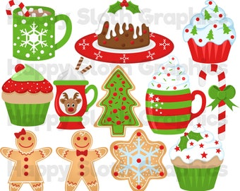 Christmas Food clipart set, personal and commercial use vector, Xmas Food and drink digital clip art set.