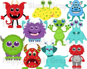 Cute Monsters clipart set, personal and commercial use vector Woodland Animals digital clip art set.
