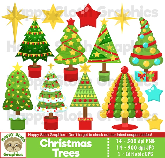 Commercial and Personal Christmas Holiday Decor Clipart Clip Art Vector Christmas Tree Clipart Clip Art