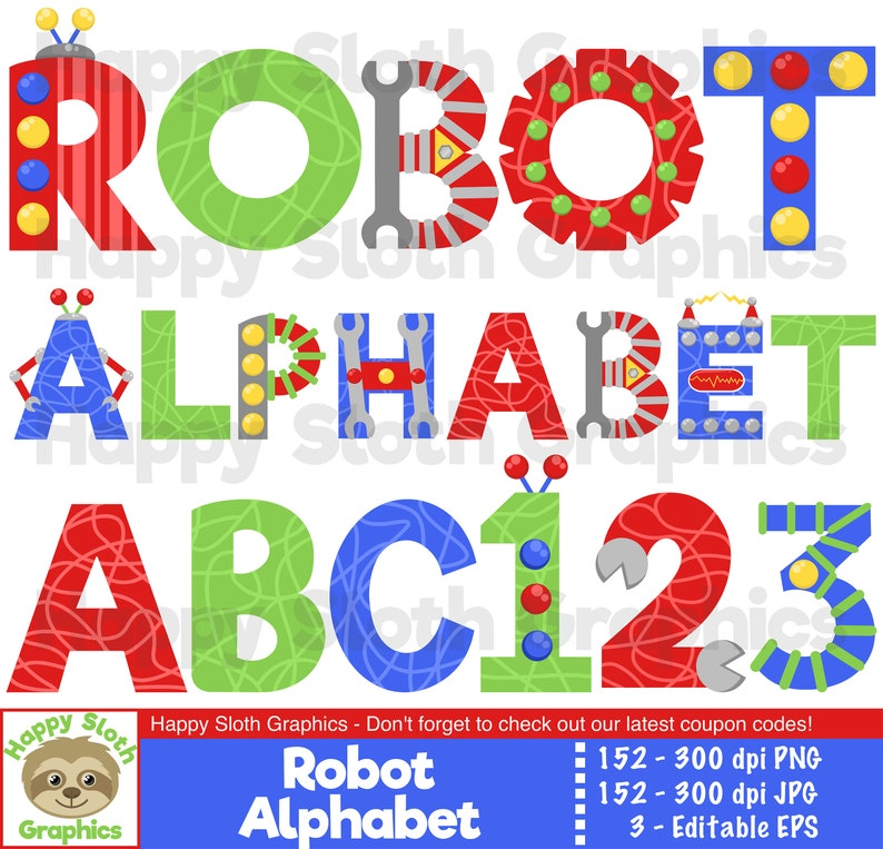 Robot Alphabet clipart set, personal and commercial use vector, Kids Font  digital clip art set