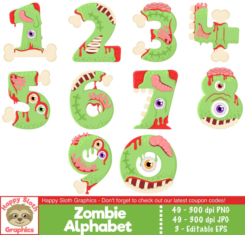 Halloween Font digital clip art set. Zombie Alphabet clipart set personal and commercial use vector