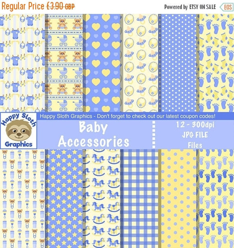 599bdfd99814f Baby Boy Accessories digital paper set personal and | Etsy