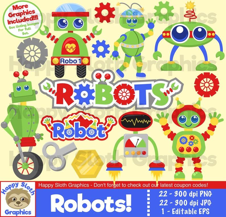 Robots clipart set, personal and commercial use Robot vector Robotic  digital clip art set