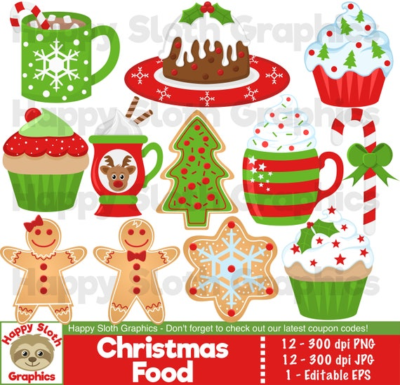 Christmas Food Clipart Set Personal And Commercial Use Etsy
