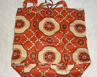 handmade ethnic cotton fabric foldable shopping tote bag