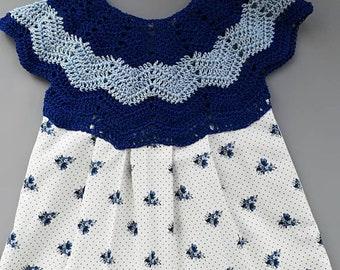 Dress form petal cotton and crochet 12 months