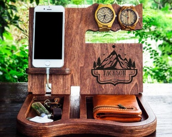 Personalized Unique Mens GiftiPhone HolderiPhone Dockmonogram Itemsunique Giftbest Giftbirthday Gift MenNatural Woodanniversary