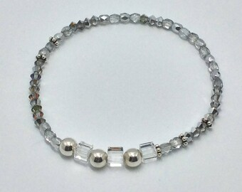 Bracelet cube Swarovski crystals and 925 Silver beads