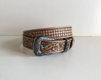 Leather belt, handmade embossing pattern: floral sheridan and woven basket (3, 9cm)