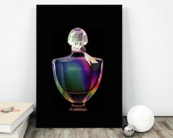 guerlain shalimar bottle print, guerlain perfume print, perfume bottle print, perfume bottle art, guerlain shalimar, perfume vanity print
