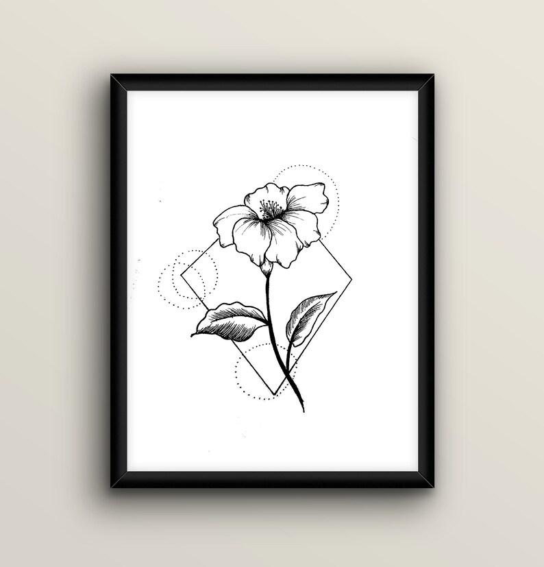 Flowers line art flowers sketch Minimal floral print Black white flowers  line art Geometric floral Tattoo flash print Contour drawing