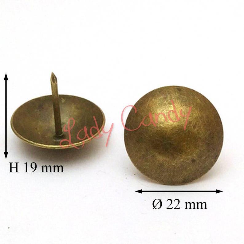 65 Clous Tapissier Lentille Bombée Bronze Vieilli Fauteuil Etsy