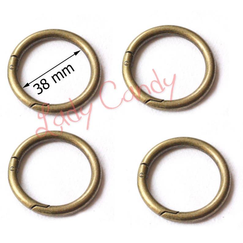 565bef370d0a 4 bolsa de mosquetón de anillos ha mano redondo color bronce